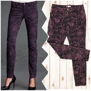 CABI Black And Purple Cami Print Jeggings Size 4